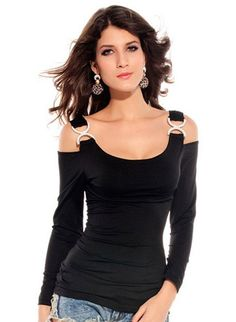 Small womens Slim Sexy Black Top Long Sleeve.  Pinned by https://www.ebluejay.com/store/BusyQueen