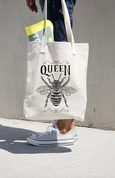 Tote Bag Queen Bee Print Boss Market Grocery Bags Totes Cotton Canvas American Apparel Black and White Gift for Boss Girlfriend Cute