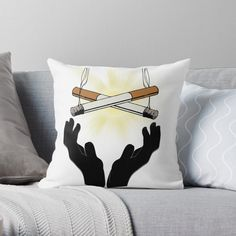 'Holy Cigarette / Praying For Nikotine' Throw Pillow by RIVEofficial Holi, Pray, Custom Design, Digital Art, Throw Pillows, Trends, Artist, Accessories, Shopping