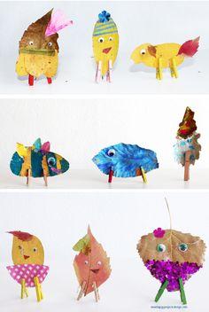 DIY otoñal Manualidades con hojas personajes otoñanes con hojas secas Manualidades con niños