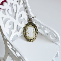 SALE Oval pendant metal brass with a cameo from by OhKsushop