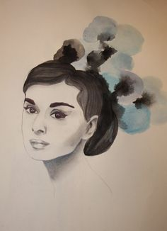 Audrey Hepburn - she's made of ballpoint pen and water color