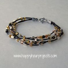 DIY Leather Cord Bead Bracelet Tutorial from Happy Hour Projects. There are certain jewelry findings that make jewelry projects look so much better and are so easy to use like end caps or ribbon crimp ends (projects here and here). You could also use this design for the Morse Code Bracelets I posted here.