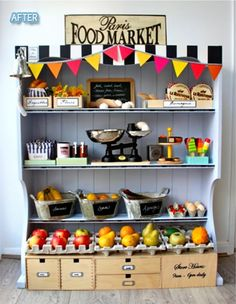 DIY play shop made from upcycled stuff