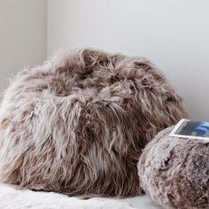 Large Long Haired Icelandic Sheepskin Bean Bag - Taupe