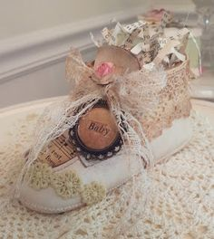 Vintage baby shoes baby girl shower decorations