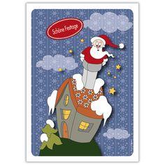 Wünschen Sie: Schöne Festtage mit dieser lustigen Weihnachtskarte und Weihnachtsmann