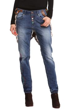"""Desigual Jeans """"Granada"""", 47D2608, blue denim pants with braces, embroidery, pockets and cool multicolour buttons. Stretchy fabric, comfortable fit. 47D2608_5053"""