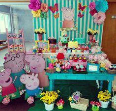 Fiestas Peppa Pig, Cumple Peppa Pig, Peppa Pig Birthday Decorations, George Pig Party, Peppa Pig Teddy, Aniversario Peppa Pig, 3rd Birthday Parties, Balloons, Air Balloon