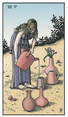 Six of Vessels - Alchemical Renewed Tarot by Robert M. Place, Leisa ReFalo