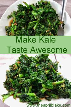 Chopped kale seasoned with garlic, sesame oil, and soy sauce can make even people who hate kale give it a try. The flavors make the kale taste delcious. Cooked Kale Recipes, Garlic Recipes, Vegetable Recipes, Diet Recipes, Vegetarian Recipes, Cooking Recipes, Healthy Recipes, Easy Kale Recipes, Kale Salad Recipes
