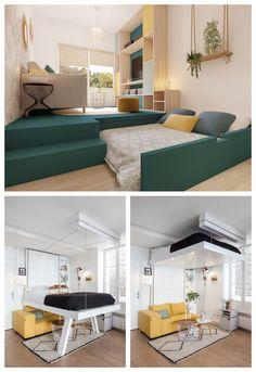 Studio Apartment Living, Apartment Design, Small House Interior Design, Home Room Design, Muebles Living, Teen Bedroom Designs, Small Space Living, New Room, Small Apartments