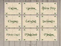 Wedding Hobbit Table Cards  set of 13 - Middle Earth - Digital file - by SophiesLoveBirds on Etsy #Wedding #LOTR #Hobbit