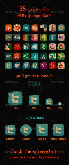 Social Media Grunge Icons — Transparent PNG #icon #design • Available here → https://graphicriver.net/item/social-media-grunge-icons/3881662?ref=pxcr