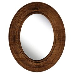Oval Decorative Wall Mirror Rustic Wood Finish - Ptm Images