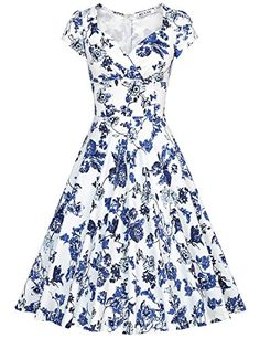 f2f0279b253f Amazon.com: MUXXN Women's 50s Vintage Sweetheart Neck Floral Cocktail Swing  Dress: Clothing