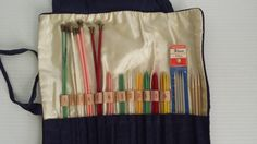 vintage set of knitting needles with pouch  vintage by GTDesigns