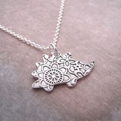 Hedgehog Necklace, Flowered Hedgehog, Fine Silver, Sterling Silver Chain, Made To Order by Dragonfly65 on Etsy https://www.etsy.com/listing/159916975/hedgehog-necklace-flowered-hedgehog-fine