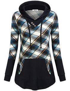 b1149d1f8618e9 ... Swing A Line Tunics Colorblock Drawstring Hooded Shirts with Kangaroo  Pockets Boxy Thermal Tops for Teen Girls Workout Clothing Blue Black Plaid  XL