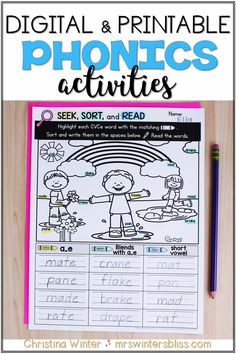 Teaching phonics is not easy! Students need lots of phonics instruction and practice. Help your students master phonics skills and spelling patterns with these engaging, interactive digital activities and printable phonics worksheets! Word work practice activities for Kindergarten, first grade, and second grade students! Use these phonics activities in the classroom or at home for distance learning. #teachingphonics #firstgrade #phonicsactivities Teaching Phonics, Phonics Worksheets, Phonics Activities, Teaching Kindergarten, Teaching Ideas, Decoding Strategies, Reading Comprehension Strategies, Reading Fluency, Cvce Words
