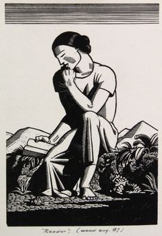A reader. Book illustration by Rockwell Kent