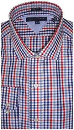 Tommy Hilfiger Long Sleeve Button Up #Shirt Blue Multi Checkered, 16.5-32/33