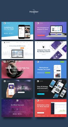 UI Kits for Landing Pages by Gris Fox on Creative Market - UI Kits - Ideas of UI Kits - UI Kits for Landing Pages by Gris Fox on Creative Market Header Design, Web Banner Design, Web Design Tips, Page Design, Flat Design, Ui Kit, Web Layout, Layout Design, Maquette Site Web
