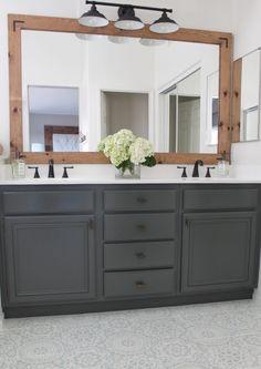 Paint Floor Tiles: a Complete Tutorial | DIY | Domestic Blonde Diy Bathroom Decor, Bathroom Renos, Bathroom Flooring, Bathroom Furniture, Modern Bathroom, Master Bathroom, Bathroom Interior, Budget Bathroom, Condo Bathroom
