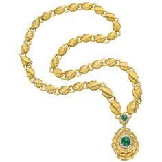 Estate David Webb 18k Gold Link Necklace with Emerald Pendant Drop - Betteridge