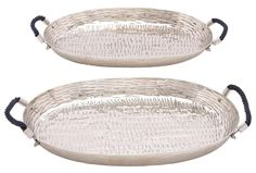 Gorgeous silver Aluminum Tray Set. Two pieces with textured detail and handles.