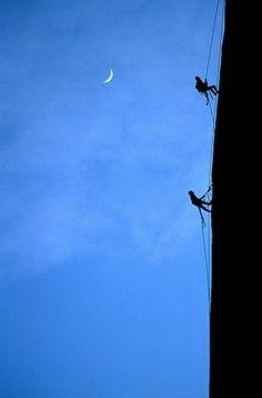 El Capitan, two climbers climbing at night, Yosemite National Park, California, USA