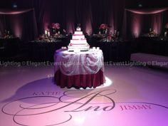 Love the monogram on the white dance floor!