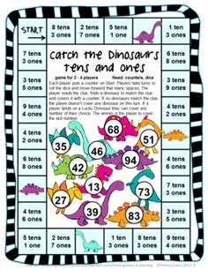 The kids will have fun catching the dinosaurs with this Place Value Game for 2 Digit Numbers by Games 4 Learning - This is a set of 15 printable Place Value Games for 2 Digit Numbers. $