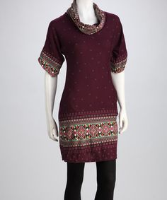 Take a look at this Purple & Green Hailey Cowl-Neck Sweater Dress by Luna Claire on #zulily today!