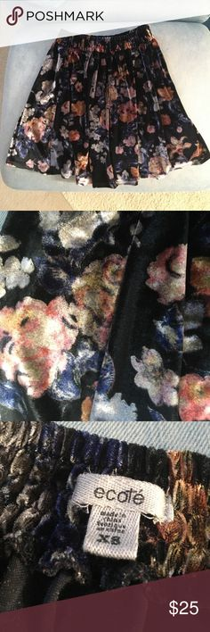 UO velvet floral skirt Soft black velvet skirt with colorful floral design. In very good condition-only worn a few times. Urban Outfitters Skirts Circle & Skater