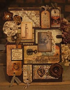 Group of altered tags -maybe use as scrapbook layout and add family photos in sepia.  Cool