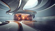 News package for StarTV Spaceship Interior, Futuristic Interior, Futuristic Design, Futuristic Architecture, Interior Architecture, Tv Set Design, Stage Design, Arch Interior, Modern Interior Design