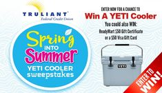 Enter the Spring into Summer YETI Cooler Sweepstakes for your chance to win a YETI Roadie 20, a $50 ReadyMart Gift Certificate, or one of three $50 VISA Gift Cards!