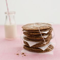"""Twisted Toll House Cookies - made with hazelnut flour. """"The cookies bake up thin, crisp, and totally awesome, especially when finished with a pinch of crunchy fleur de sel. Fruit Recipes, Sweet Recipes, Cookie Recipes, Dessert Recipes, Desserts, Party Recipes, Milk Cookies, Chocolate Chip Cookies, Skinny Recipes"""