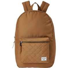 Herschel Supply Co. Settlement (Caramel Quilted) Backpack Bags (23 BHD) ❤ liked on Polyvore featuring bags, backpacks, padded backpack, brown leather rucksack, laptop bags, leather backpack and quilted backpack