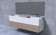 meuble double vasque en blanc et bois clair à tiroirs