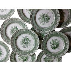 Copeland Garrett Late Spode Green Transfer Printed Set of 12 Plates Vintage Plates, Vintage China, Vintage Love, Porcelain Ceramics, China Porcelain, Green China, Currier And Ives, China Sets, Plates And Bowls
