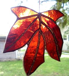 Autumn Leaf Stained Glass Deep Red Orange Maple.
