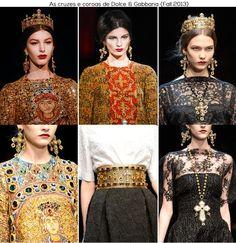 Dolce & Gabbana usaram os mosaicos dourados da Catedral de Monreale, para inspirar sua nova coleção. E dentro deste contexto, apostaram nos rosários, cruzes e coroas em seus looks