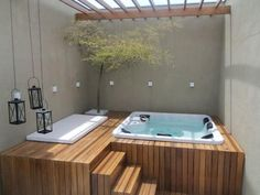 Outdoor jacuzzi wood bar idea not expensive outdoor jacuzzi wood bar idea .Outdoor jacuzzi wood bar idea not expensive outdoor jacuzzi wood bar idea … The proven method for outdoor hot tub step Hot Tub Deck, Hot Tub Backyard, Small Backyard Pools, Backyard Seating, Jacuzzi Outdoor Hot Tubs, Pergola Patio, Gazebo, Whirlpool Deck, Small Inground Pool