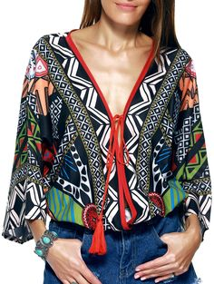 Ethnic Style Plunging Neck Tassel Tie Multicolor Print Wrap Blouse For Women