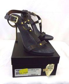 GUCCI Sexy Brown & Gold Wood Platform Stiletto Heels Leather Strappy Sandals 9 B #Gucci #Stilettos