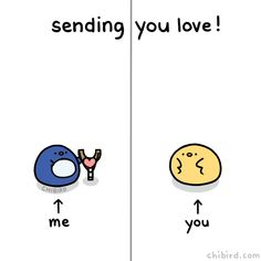 """chibird: """"Share some love with anyone who might need it! ❤ Don't worry, the heart is soft and doesn't hurt the chibird when it drops. Cute Puns, Cute Memes, Cute Quotes, Cute Love Gif, My Love, Funny Love Gif, Love You Gif, Funny Gifs, Gif Mignon"""