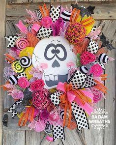 Halloween Mesh Wreaths, Halloween Door, Halloween Season, Deco Mesh Wreaths, Halloween Decorations, Tulle Wreath, Diy Wreath, Candy Corn Wreath, Pumpkin Decorating