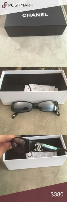 Chanel Sunglasses Black Chanel sunglasses with diamond Chanel stud on both sides--certificate of authenticity included CHANEL Accessories Sunglasses